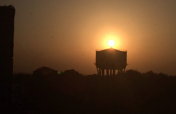Sunset Water Tower in New Delhi