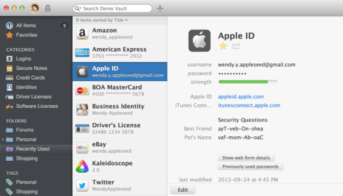 1Password Application Window
